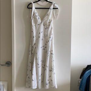 H&M White Bird Print Midi Dress